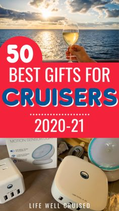 50 best gifts for cruisers in 2020 and 2021. Cruise essentials, cruise accessories and travel gadgets are all part of this gift list. Fun cruise novelty items and nautical decor is part of the 50 best items that cruise travelers will love to receive as a gift. #cruise #giftlist #giftguide #travelgifts