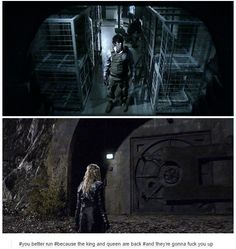 Bellamy and Clarke l l Sky People l l King & Queen Best Tv Shows, Best Shows Ever, Favorite Tv Shows, The 100 Cast, The 100 Show, 100 Memes, Sky People, Bob Morley, Cw Series