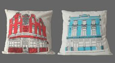 {Franklyn & Vincent} East End pub crawl cushions from Mr Wingate.
