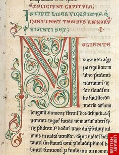Arabesque initial 'M'(oriente), at the beginning of book 20 of the Antiquitates judaicae, to the left is a colour note 'R'.    Origin: England, N. or Midlands