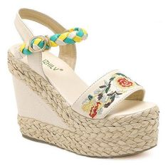 Weaving Embroidery Platform Sandals (225 MYR) ❤ liked on Polyvore featuring shoes, sandals, embroidered shoes, platform sandals, weave shoes, embroidered sandals and platform shoes