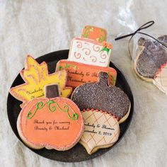 Send your guests home with perfect personalized Fall cookies The Wedding Date, Orange Wedding, Fall Wedding, Doughnut Wedding Cake, Wedding Cake Cookies, Fall Cookies, Fantasy Wedding, Personalized Wedding, Wedding Decorations