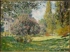 """Landscape: The Parc Monceau"" by Claude Monet. 1876, oil on canvas. In the collection of The Metropolitan Museum of Art, NYC. Bequest of Loula D. Lasker."