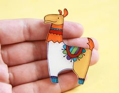Llama Brooch Animal brooch illustrated by lacravatteduchien, €12.00