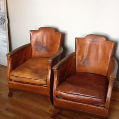 1920s Deco French Leather Club Chairs RESTORATION HARDWARE | eBay
