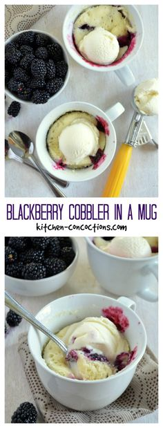 Blackberry Cobbler in a Mug ~  So Easy!!! I made this last night because at 11:30 PM I felt like dessert.  I used peaches instead of berries.  It's not quite as good as oven-cooked cobbler, but it was much quicker and we didn't have to fire up the oven in the middle of a hot Roman Summer.  ~The Husband approved.