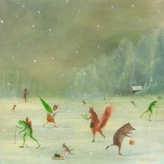 """Art Print of an Original Animal Painting: """"Going Home For Christmas"""" by TheLitusGallery on Etsy"""