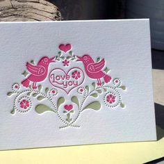 INVENTORY SALE  Bird Love Card by byvikINK on Etsy, $2.50
