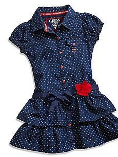 Little Girl Polka Dot Denim Dress Girls Denim Dress, Kids Dress Wear, Little Girl Outfits, Toddler Girl Dresses, Kids Outfits, Girls Dresses, Baby Girl Dress Design, Girls Frock Design, Baby Frocks Designs
