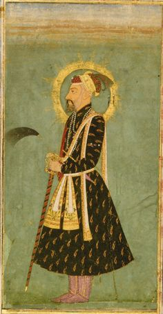 A Portrait of Emperor Awrangzeb (r.1658-1707), India, Mughal, circa 1670 Gouache heightened with gold on paper, depicting Awrangzeb wearing a jewelled red and gold turban, gold floral patka, holding a fly whisk and sword, a halo around his head, with a jewelled katar secured in his belt, laid down on an album page with leafy outer margins set with applied foliate cartouches in different colours.