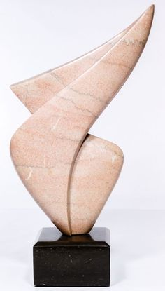 carved signature on the base, abstract rose pink granite sculpture with gray veins; the sculpture can be rotated freely on the base Art Sculpture, Stone Sculpture, Abstract Sculpture, Metal Sculptures, Olsen, Sculpture Romaine, Soapstone Carving, Crystal Garden, Oeuvre D'art