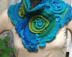 Crochet Scarf Shadows Blue purple Red Freeform crochet por Degra2