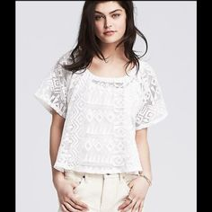 Banana Republic Draped Lace Top !   This is Gorgeous !! Draped lace top in white ! From shoulder to hem is 22 inches. Rounded neckline with elastic ! Rounded hemline too ! Just special !  Banana Republic Tops
