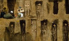 Bubonic plague victims of 14th century London, uncovered in the 1980s in an excavation at the Old Royal Mint. Photograph: Rex Features
