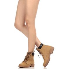 CiCiHot Camel Faux Nubuck Lace Up Hiker Boots ($32) ❤ liked on Polyvore featuring shoes, boots, front lace up boots, long shoes, nubuck leather boots, lacing boots and lace up shoes