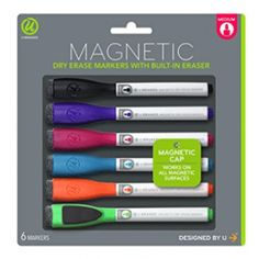 U Brands Low Odor Magnetic Dry Erase Markers With Erasers, Medium Point, Assorted Colors, - Refrigerator Makeover, Rv Refrigerator, Desk Supplies, School Supplies, Magnetic White Board, Gift Finder, Dry Erase Markers, Dry Erase Board, Magnets