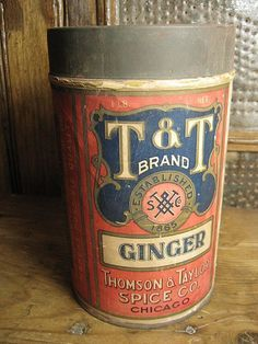 Awesome Early Old Large T and T Brand Ginger Spice Tin - Paper Label