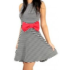 Play with me skater dress  A day or night dress, with sleeveless cute big red bow stripe skater dress flows into a A line skirt giving you a gorgeous figure. Bring out the fun in you and lets play!  $55.00 www.vyviart.com.au