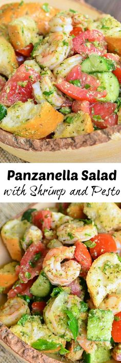 Panzanella Salad with Shrimp and Pesto. A twist on a Tuscan classic summer salad made with fresh veggies, pieces of Italian bread, shrimp and fresh pesto.