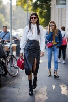 Chic skirts for everyone! Giovanna Battaglia shows us how to pull off a leather skirt paired with a chiffon blouse..