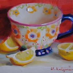 "Daily Paintworks - ""Mug and Lemons"" - Original Fine Art for Sale - © Elena Katsyura Lemon Painting, Summer Painting, Sweetest Devotion, Tea Cup Art, Pretty Mugs, Apple Art, Still Life Art, Traditional Paintings, Kitchen Art"
