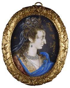 This miniature of Anne of Denmark, James I's consort, was misidentified as Elizabeth I until the late nineteenth century. That the subject i...