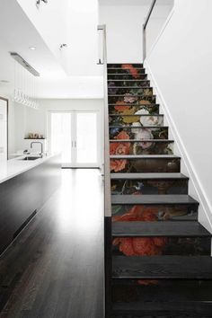 contemporary stair stickers to upgrade your stairs in no time with our glue less stickers Contemporary Stairs, Contemporary Decor, Foyers, Remodeling Mobile Homes, Home Remodeling, Stair Stickers, Home Interiors And Gifts, Beautiful Houses Interior, Transitional Decor