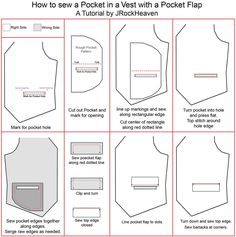 How to sew a Pocket in a vest with a Pocket Flap. Check out my board, Sewing or creating vests. I only wish to help,i couldn't care lesxs for followers