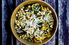 grilled courgette ribbons with pesto and cannellini beans – smitten kitchen | omit parmesan to make it vegan