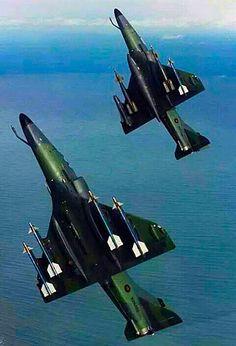 A pair of New Zealand's Douglas A-4Z Skyhawks go vertical.