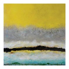 This large painting with bold yellow, black, and teal, and soft touches of grey and white, will make a statement in any décor.