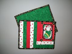 Christmas reversible mug rug - Santa stocking - ho ho ho - red green yellow gold  black white - home office desk accessory - coworker gift by ExpressionQuilts on Etsy