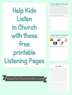 """""""I can listen in church"""" sheets. Great idea to keep little hands busy during church instead of using random coloring pages! They can color and write, but it actually helps them listen to the sermon too! Church Activities, Bible Activities, Preschool Activities, Sermon Notes, Train Up A Child, Kids Church, Church Ideas, Bible Teachings, Religious Education"""