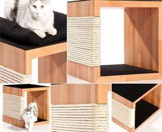 The QUADRE is a solid wooden piece of cat furniture, manufactured from Manufaktur Kratzpfote in Germany.