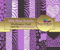 WILD About Lavendar Digital Wallpapers for Mobile Devices, Instant Download, Zebra Leopard Animal Print