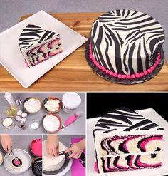 DIY Zebra Cake food cake desert diy recipe recipes ingredients instructions desert recipes cake recipes party ideas party food cakes party favors colorful cakes girly cake food tutorials