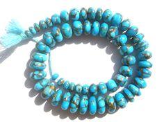 Copper Turquoise Smooth Roundel Semi Precious by beadsogemstone, $62.14
