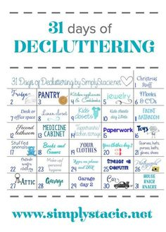 interesting way to work without getting overwhelmed. 31 Days of Decluttering - Make 2016 the year you get your home organized! With this 31 days of decluttering challenge, you'll be well on your way. House Cleaning Tips, Cleaning Hacks, Cleaning Schedules, Cleaning Calendar, Cleaning Challenge, Office Cleaning, Spring Cleaning Checklist, 31 Day Challenge, Weekly Cleaning