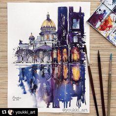 Очень красивый Петербург глазами @youkki_art. #hipocoinspiration #spb#petersburg#drawing#sketch#architecture#архитектура#рисунок#иллюстрация#illustration#петербург#графика#город#artist#graphics#city#watercolour#акварель#watercolor#aquarelle hipoco.com