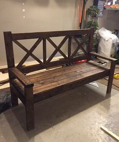 Beautiful custom made bench built to your measurement needs and a wide variety of stains to choose from Furniture Making, Wood Furniture, Outdoor Furniture, Outdoor Decor, Wood Crafts, Diy Crafts, Built In Bench, Wood Creations, Custom Made