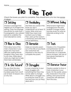 Edit Concept for Use - - Novel study Tic Tac Toe project.great idea for literature circles Reading Strategies, Reading Skills, Teaching Reading, Reading Comprehension, Comprehension Strategies, Guided Reading, Reading Bingo, Library Skills, Teaching Literature