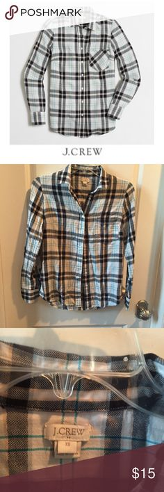 """J. Crew Plaid Button Down Shirt J. Crew Plaid Button Down Shirt. 16"""" bust. 25"""" long. White, black, and bright blue strip. Gently worn. Great condition. Feel free to make an offer or bundle & save. J. Crew Factory Tops Button Down Shirts"""