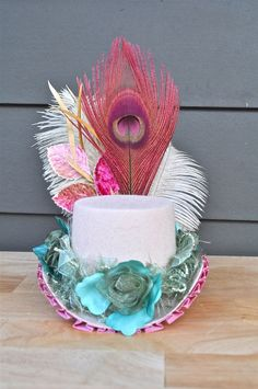 Mint Pink and Cream Mini Top Hat with Peacock ~ LaCocoRouge on Etsy