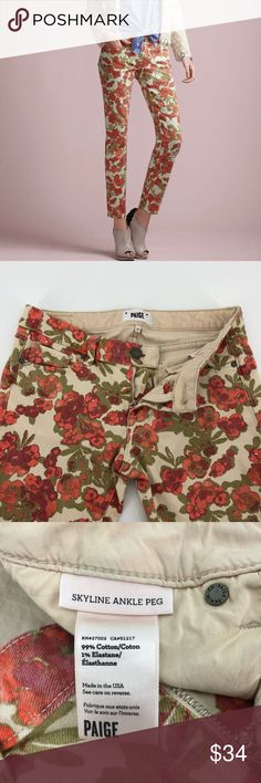 Paige Skyline Ankle Peg Floral Jeans Stretch Sz 27 Paige Skyline Ankle Peg Floral Jeans Stretch Low Rise Sz 27. Condition is Pre-owned. Shipped with USPS Priority Mail. Fabrics: Cotton 99% Elastane 1% Details: Floral print 5 pockets Low rise Ankle Measurements (Laying flat): Waist 16 Inseam 28.5 Excellent preowned condition no rips, stains, holes or other condition issues. PAIGE Jeans Skinny Floral Jeans, Paige Jeans, Priority Mail, Stretch Jeans, Fashion Tips, Fashion Design, Fashion Trends, Floral Prints, Skyline