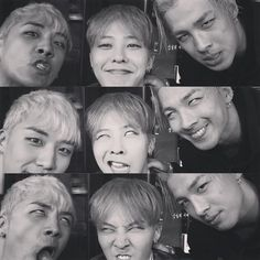 Seungri, G-Dragon & Taeyang, oh these boys from Big Bang. They make the silliest faces but they're still so cute. Daesung, Gd Bigbang, Bigbang G Dragon, Big Bang Memes, Big Bang Kpop, Bang Bang, Yg Entertainment, Girls Generation, Soulmate Quiz
