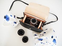 Olympus PEN leather camera bag and accessories