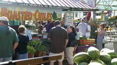 Crowds gather to taste the roasted chiles and have their favorites roasted right there. Buy them buy the 1/2 bushel or pound for smaller portions.