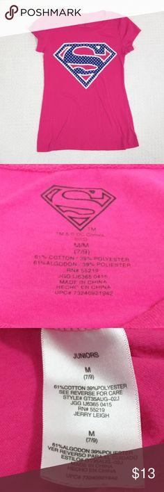 Superman DC Comics pink t-shirt Sz 7 9 Juniors T6 Superman DC Comics a60ca4fbb