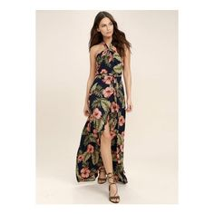 Halter Floral Print Slit Maxi Dress (€32) ❤ liked on Polyvore featuring dresses, navy, off shoulder maxi dress, backless maxi dress, sleeveless maxi dress, floral maxi dress and floral print maxi dress