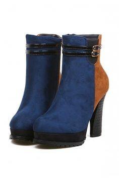 Contrast Paneled Euro38/us7/uk5 Blue Boots $69